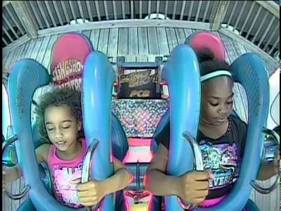 Little Girls Lose It On Sling Shot Ride