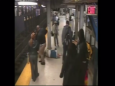 Caught On Surveillance: Good Samaritans Help Passenger Who Falls Onto Subway Tracks!